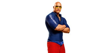 Picture pose, figure, glasses, bald, costume, white background, muscles, Dwayne Johnson, Dwayne Johnson, athlete, Baywatch, Mitch …