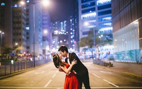 Picture road, girl, city, the city, Love, building, home, kiss, Love, pair, office, facilities, male, girl, …