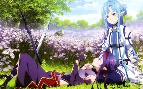 Picture stay, chamomile, elves, swords, long hair, friend, flower fields, Yuuki Asuna, Sword Art Online, Sword …
