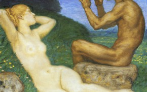 Picture a guy and a girl, the flute, 1917, Franz von Pieces, Love spring