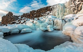 Picture ice, snow, mountains, lake, rocks, Iceland