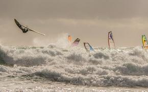 Wallpaper sea, wave, the wind, sail, Board, regatta, Windsurfing