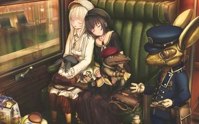 Wallpaper girls, art, robot, anime, sleep