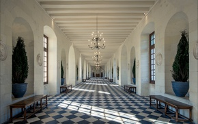 Wallpaper France, The Castle Of Chenonceau, gallery, corridor
