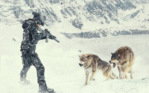 Picture winter, girl, machine, wolves, Blizzard, aggression