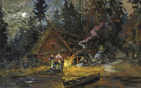 Picture picture, boat, Songs around the Campfire, Konstantin Korovin, hut, landscape