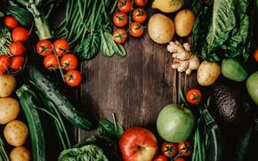 Picture greens, Vegetables, fruit
