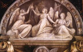 Picture angels, arch, shield, taper, Antonio Allegri Correggio, The frescoes in the monastery of St. Paul …