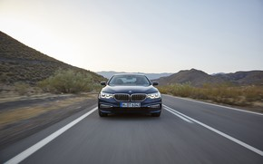 Picture road, the sky, mountains, BMW, sedan, front view, xDrive, 530d, Luxury Line, 5, dark blue, …