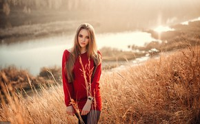 Picture grass, look, the sun, landscape, nature, river, portrait, makeup, dress, hairstyle, brown hair, beauty, in …