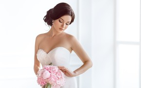 Picture girl, bouquet, makeup, dress, hairstyle, the bride, in white