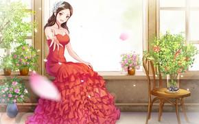 Wallpaper girl, anime, dress, art