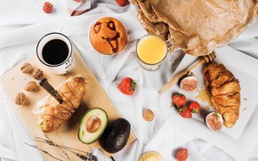 Wallpaper Breakfast, figs, juice, coffee, orange, berries, fruit, food, croissants