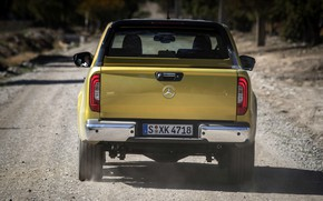 Picture yellow, Mercedes-Benz, dust, body, rear view, pickup, primer, 2017, X-Class