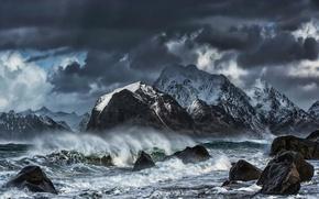 Picture sea, wave, mountains, squirt, clouds, storm, stones, rocks, shore, Norway, The Lofoten Islands