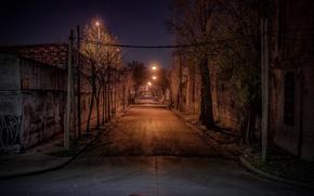 Picture Argentina, night, street, Buenos Aires, lamp posts, urban scene
