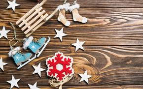 Picture new year, Christmas, sled, snowflake, decor