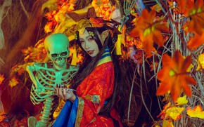 Picture look, girl, style, background, skeleton