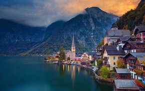 Picture mountains, lake, home, Austria, Hallstatt, Hallstatt