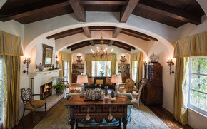 Picture interior, fireplace, Los Angeles, living room, Pacific Palisades