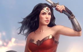 Picture woman, sword, shield, wonder woman, dc comics, Diana Prince