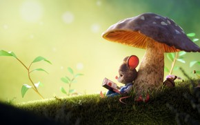 Wallpaper mushroom, mouse, 3D art, Arthur Gatineau