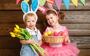 Picture flowers, children, holiday, eggs, tulips, Bunny