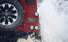 Picture water, squirt, red, SUV, back, Land Rover, 2018, Defender, V8, spare wheel, Defender Works V8, …