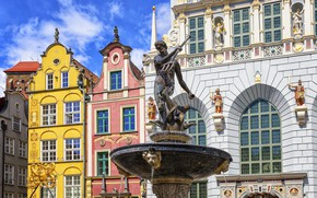 Picture the sky, the sun, clouds, design, home, area, Poland, Trident, fountain, Neptune, sculpture, Gdansk, The …