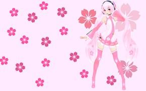 Picture flowers, anime, art, girl, Vocaloid, Miku, KasokuSato Sakura Miku