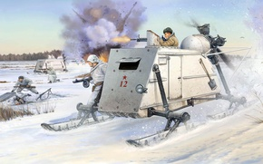 Picture war, USSR, self-propelled sleigh, NKL-26