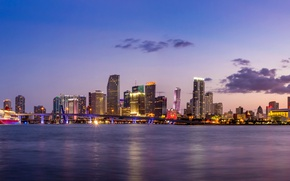 Picture the sky, clouds, sunset, bridge, lights, coast, ship, Miami, skyscrapers, the evening, panorama, Bay, USA