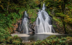 Picture autumn, forest, Germany, waterfalls, cascade, Germany, Baden-Württemberg, Baden-Württemberg, Black Forest, The black forest, Twin Falls