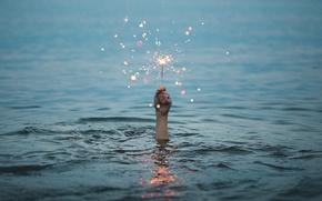 Picture wave, water, hand, sparks, sparklers, Sparkler