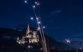 Picture mountains, night, lights, holiday, home, Austria, Church, fireworks, Rankweil