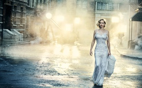 Wallpaper light, street, home, makeup, figure, dress, actress, hairstyle, blonde, beauty, the sidewalk, in white, photoshoot, ...