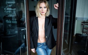 Picture girl, blue eyes, jeans, coat, look, blonde, jacket, Eva Mikulski
