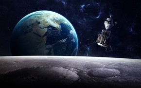 Picture The moon, Earth, Module
