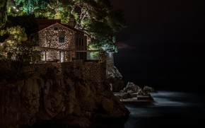 Picture sea, light, night, rock, house, Dubrovnik, Villa Agave