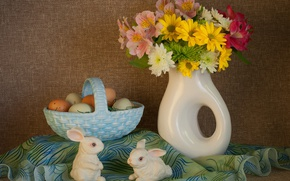 Picture eggs, bouquet, Easter, bunnies