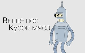 Picture text, futurama, Bender, a piece of meat