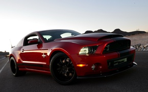 Picture Ford, Shelby, GT500, Red, Road, Black, Wheel, Machine, Lights, Antenna