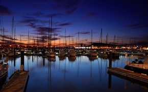 Picture the city, Marina, yachts, the evening, port