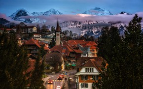 Wallpaper clouds, landscape, the evening, street, lights, road, roof, Gundlischwand, trees, home, mountains, Canton of Berne, ...