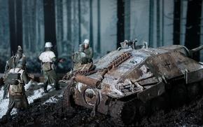 Picture winter, toy, soldiers, tank fighter, modelka, Hetzer, Hetzer 38