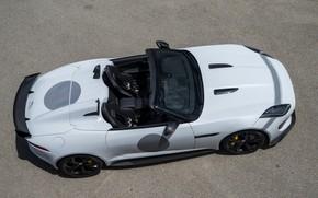 Picture white, Jaguar, arc, the hood, top, salon, wing, V8, hump, 575 HP, 5.0 L., F-Type …