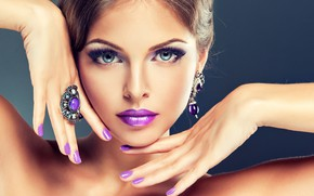 Picture eyes, look, decoration, close-up, face, eyelashes, background, hands, makeup, hairstyle, lips, brown hair, beauty, manicure