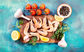 Picture lemon, food, tomatoes, parsley, shrimp, spices, garlic