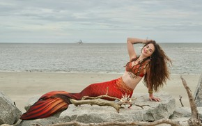 Wallpaper sea, shore, mermaid