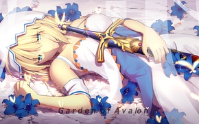 Picture girl, sword, anime, art, Fate Stay Night, the saber, fate/grand order